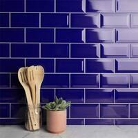 SomerTile 3x6-inch Malda Subway Beveled Royal Blue Ceramic Wall Tile (136 tiles/17 sqft.)