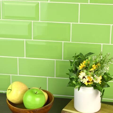 SomerTile 3x6-inch Malda Subway Beveled Kiwi Green Ceramic Wall Tile (136 tiles/19.18 sqft.)