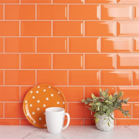SomerTile 3x6-inch Malda Subway Beveled Tangerine Orange Ceramic Wall Tile (136 tiles/19.18 sqft.)