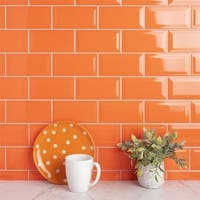 SomerTile 3x6-inch Malda Subway Beveled Tangerine Orange Ceramic Wall Tile (136 tiles/17 sqft.)