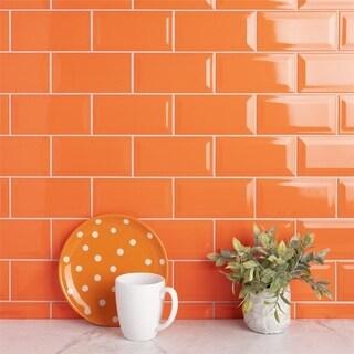 SomerTile 3x6-inch Malda Subway Beveled Tangerine Orange Ceramic Wall Tile (136 tiles/17 sqft.)