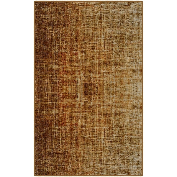 Brumlow Mills Contemporary Linen Orange/Rust Nylon Modern Area Rug -  7'6