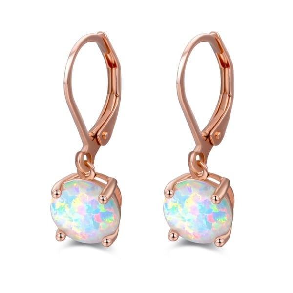 Rose Gold Plated Lab Created Oval Shape Fire Opal Earrings