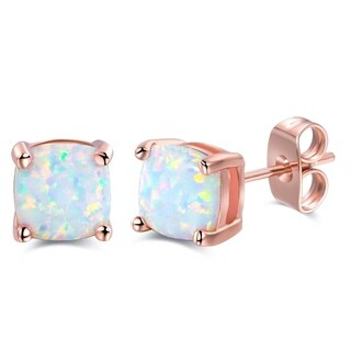 Rose Gold Plated Square Shape Fire Opal Earrings