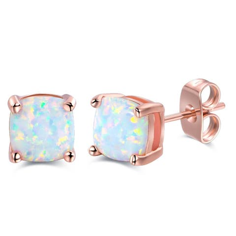 Rose Gold Plated Lab Created Square Shape Fire Opal Earrings