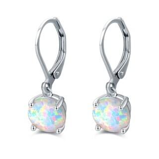 Rhodium Plated Oval Shape Fire Opal Earrings