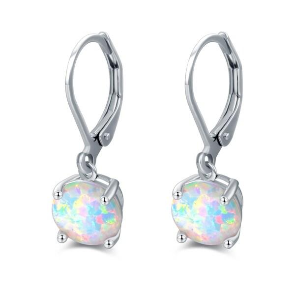 Rhodium Plated Oval Shape Fire Opal Earrings