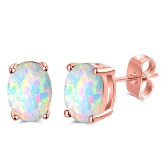 Rose Gold Plated Oval Shape Fire Opal Earrings