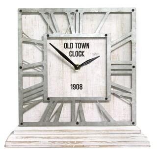 Stratton Home Decor Distressed White Table Top Clock