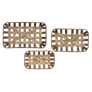 Stratton Home Decor Handcrafted Set of 3 Tobacco Weaved Basket
