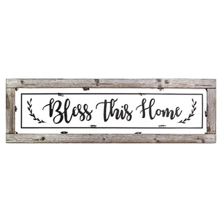 Stratton Home Decor Bless This Home Framed Enamel Sign Wall Decor