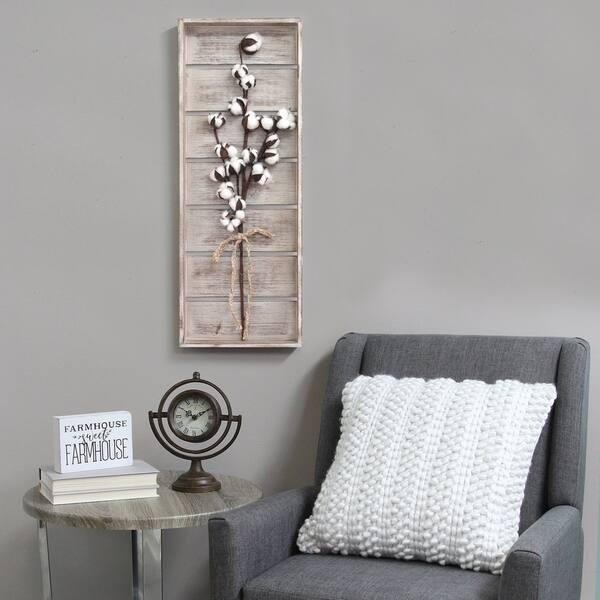 Stratton Home Decor Cotton Stem Panel Wall Decor Overstock 22180903