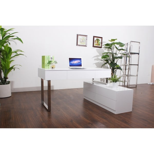 White Lacquer Wood/Stainless Steel Office Desk