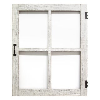 Stratton Home Decor Distressed White Faux Window Panel