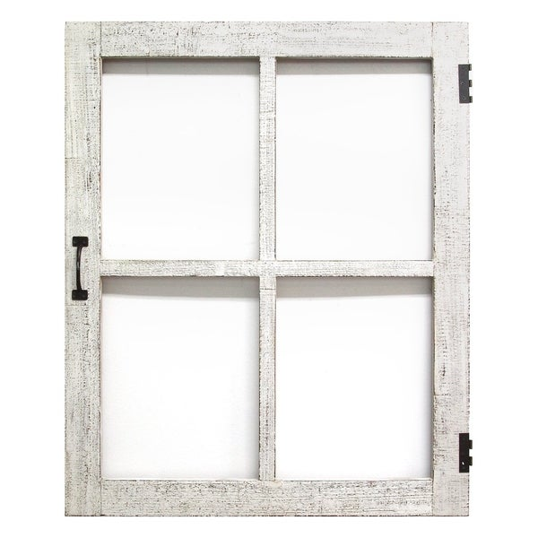 Stratton Home Decor Distressed White Faux Window Panel