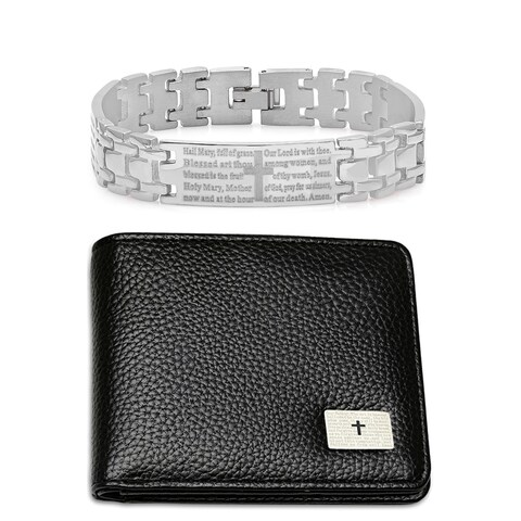 "Steeltime Men's Set of 2 Faux Black Leather ""Our Father"" Prayer Bifold Wallet and ""Hail Mary"" Prayer Link Bracelet"