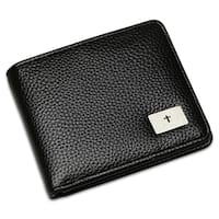 "Steeltime Men's Faux Black Leather ""Our Father"" Prayer Bifold Wallet"
