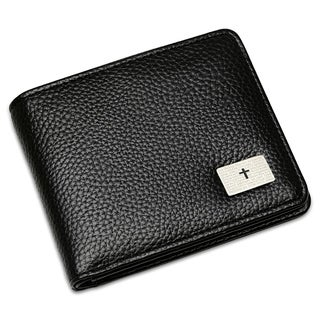 """Steeltime Men's Faux Black Leather """"Our Father"""" Prayer Bifold Wallet"""