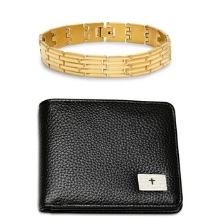 """Steeltime Men's Set of 2 Faux Black Leather """"Our Father"""" Prayer Bifold Wallet and Gold Tone Lined Link Bracelet"""