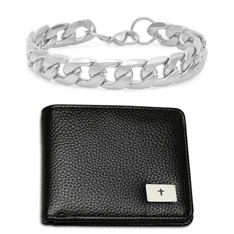 """Steeltime Men's Set of 2 Faux Black Leather """"Our Father"""" Prayer Bifold Wallet and Stainless Steel Thick Cuban Bracelet"""