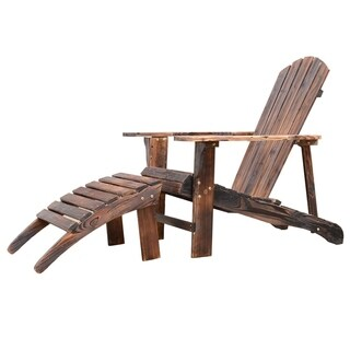 Outsunny Wooden Adirondack Outdoor Patio Lounge Chair with Ottoman - Rustic Brown