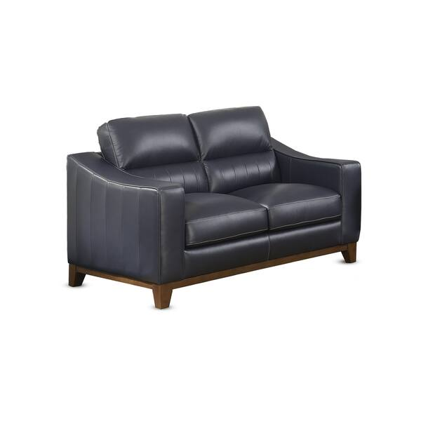 Super Shop Kilian Navy Leather Loveseat By Greyson Living Free Machost Co Dining Chair Design Ideas Machostcouk