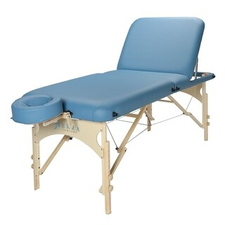 Sierra Comfort Deluxe Adjustable Backrest Portable Massage Table Sky Blue