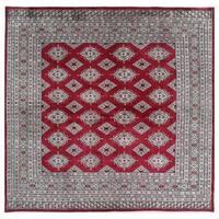 Handmade Herat Oriental Pakistani Hand-knotted Bokhara Wool Rug (6'6 x 6'6)