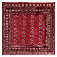 Handmade Herat Oriental Pakistani Hand-knotted Bokhara Wool Rug (6'1 x 6'1)