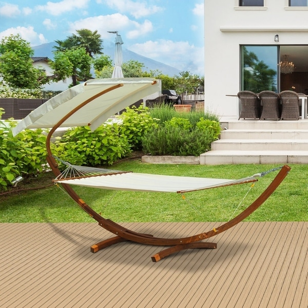 Outsunny Outdoor Patio 2 Person Wooden Hammock Swing With Sun Shade