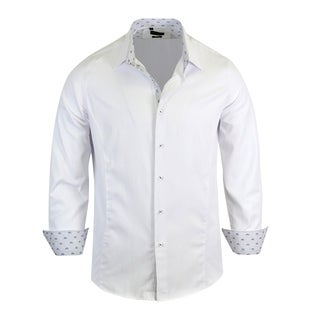 Rosso Milano Jacquared Pattern With Geomatric Contrasted Men's Dress Shirt