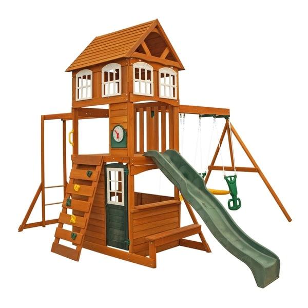 Shop Kidkraft Cranbrook Wooden Playset Swing Set Free Shipping