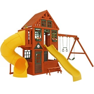 KidKraft Twin Mountain Lodge Wooden Playset Swing Set