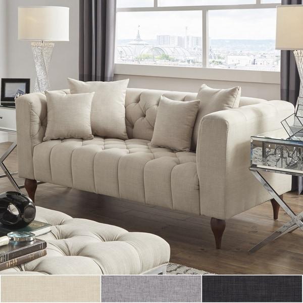 Danise Tufted Linen Upholstered Tuxedo Arm Loveseat by iNSPIRE Q Artisan
