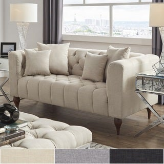 Danise Tufted Linen Upholstered Tuxedo Arm Loveseat by iNSPIRE Q Artisan