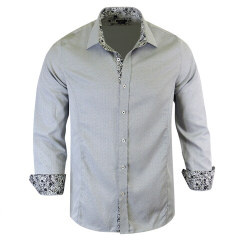 Rosso Milano Geomatric Contrasted with Jacquared Pattern Dress Shirt