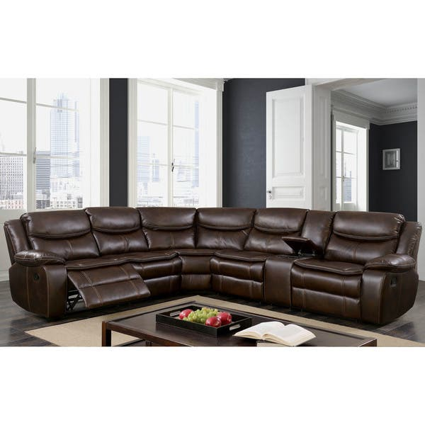 Furniture of America Sory Transitional Brown Reclining Sectional