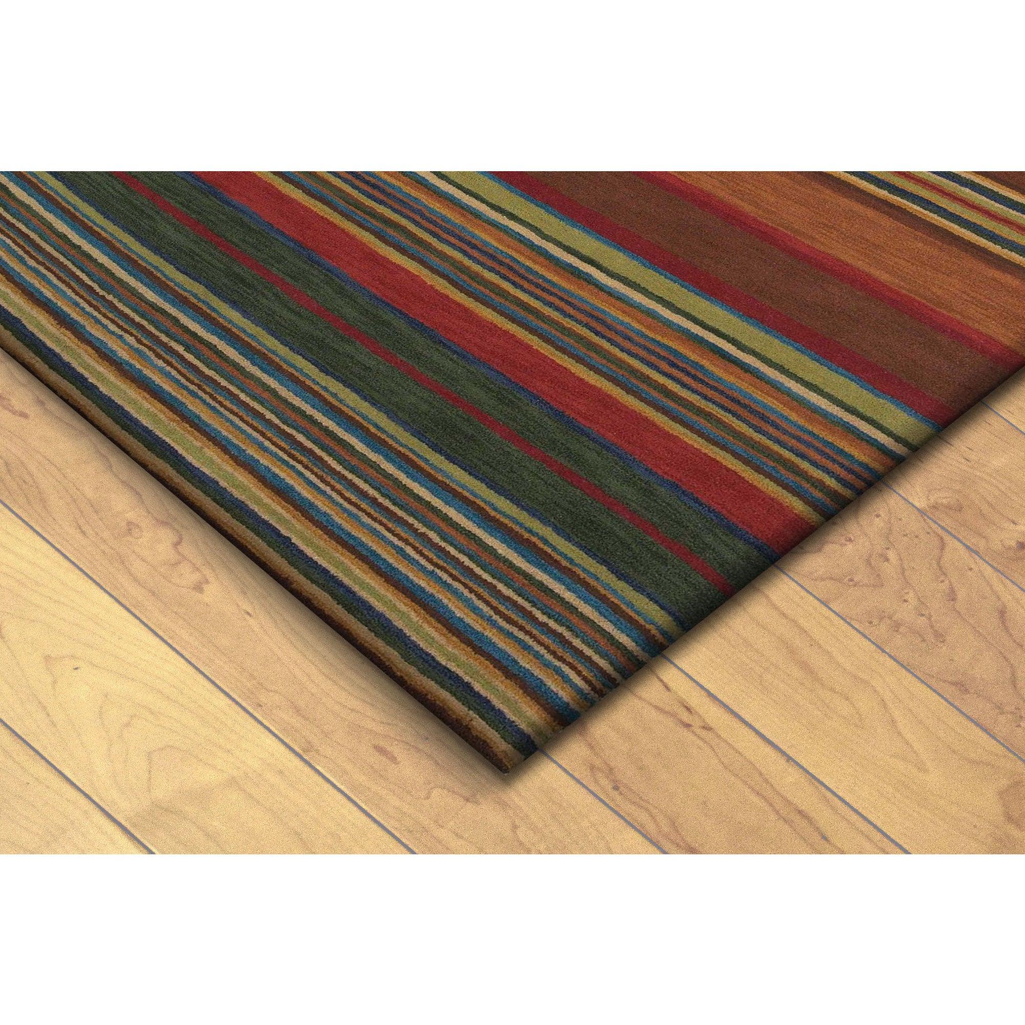 Hand Tufted Inca Striped Wool Rug 41 X 65 Multi 3 5