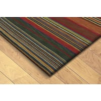 "Hand-tufted Inca Striped Wool Rug (41"" x 65"") - Multi - 3'5"" x 5'5"""