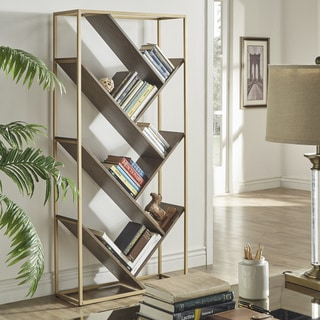 Link to Cortez Gold and Walnut Finish Angular Modern Bookshelf by iNSPIRE Q Bold Similar Items in Bookshelves & Bookcases