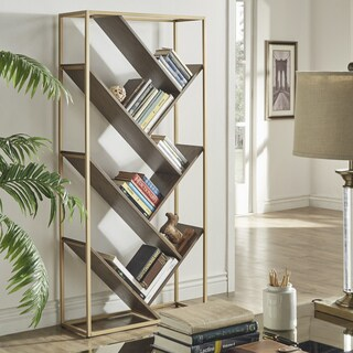 Cortez Gold and Walnut Finish Angular Modern Bookshelf by iNSPIRE Q Bold
