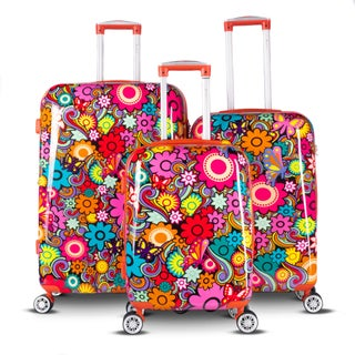 Gabbiano Floral Collection 3 Piece Expandable Hardside Luggage Set