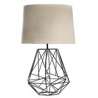 """Toby Black Geometric Metal Cage Table Lamp with Drum Shade (26"""")"""