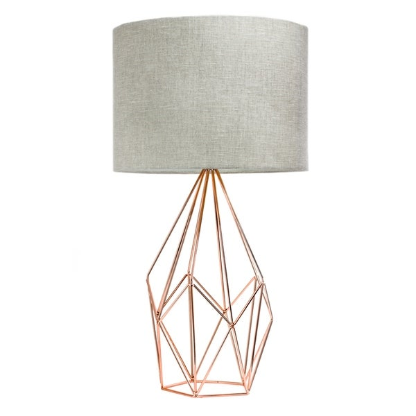 Shop Rose Gold Geometric Metal Cage Table Lamp With Drum