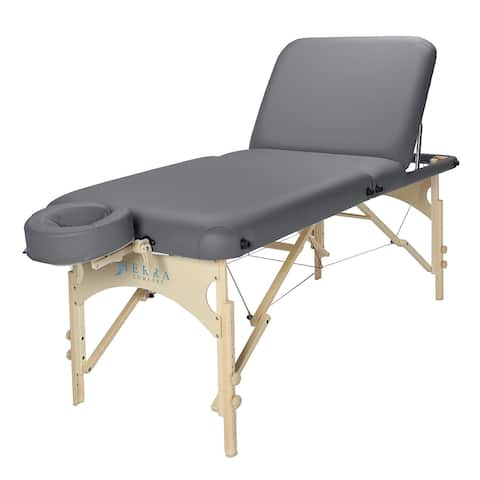 Sierra Comfort Deluxe Adjustable Backrest Portable Massage Table Charcoal