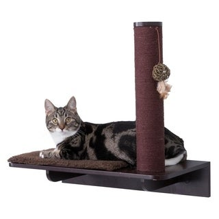 Wall Mount Scratching Post with Relaxing Shelf (espresso-brown)