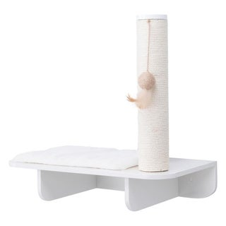 Wall Mount Scratching Post with Relaxing Shelf (white)