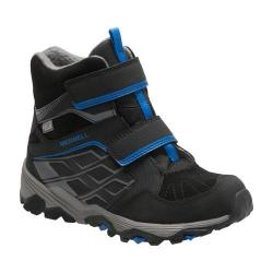 Boys' Merrell Moab FST Polar Mid A/C Waterproof Boot Preschool Black Suede/Mesh