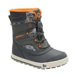 Boys' Merrell Snow Bank 2.0 Waterproof Boot Kid Grey/Orange Leather
