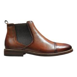 Men's Stacy Adams Alomar Cap Toe Chelsea Boot 25129 Cognac Antiqued Leather